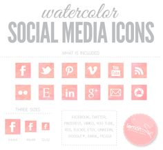 {watercolor social media icons}