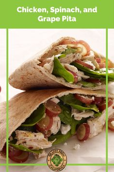 Chicken, spinach, feta cheese, lemon, and grapes from California are delicious in a pita bread pocket, making a simple lunch option. #spinachpita #bread #chicken #recipes #feta #cheeseand #pocket #pockets #spinach #chickenpita #pita #veggiepita #pitapockets #lemon #chickenandspinachpita Grape Recipes, Fall Recipes, Summer Recipes, Chicken Pita, Spinach Stuffed Chicken, California Food, Pita Bread, Clean Eating Recipes, Appetizer Recipes