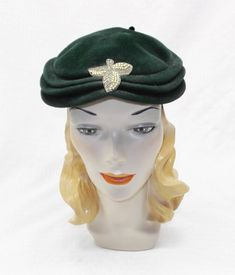 4b5d31ca080 1950s Vintage Green Velour Hat with Beaded Pearl Accent Hat Making