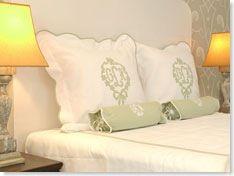 sage monogrammed bed linens