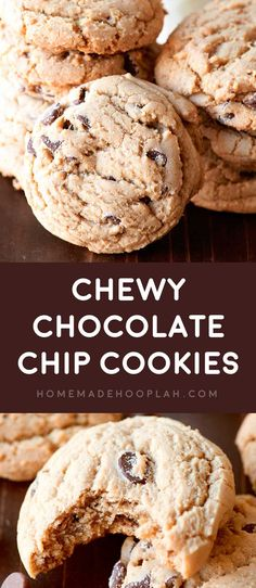 Chewy Chocolate Chip Cookies! Take the classic chocolate chip cookie and add a special ingredient to make them ultra soft and decadently chewy. It's impossible to eat just one!   HomemadeHooplah.com