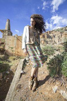 Abandoned quarry, geometric dress with combat boots