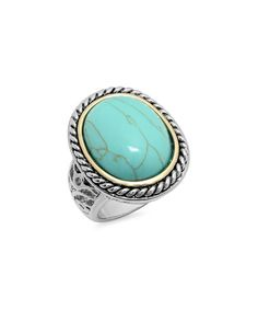 This Turquoise & Two-Tone Oval Twist Ring is perfect! #zulilyfinds