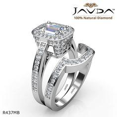 Filigree Design Halo Bridal Emerald Diamond Engagement Ring 14k White Gold.