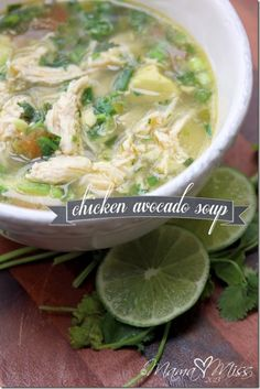 Chicken Avocado Soup - low carb - This recipe is so very yummy. It's also light, low calorie, and the huge chunks of avocado just melt in your mouth as you eat it Paleo Cooking Think Food, I Love Food, Food For Thought, Good Food, Yummy Food, Crazy Food, Tasty, Paleo Recipes, Soup Recipes