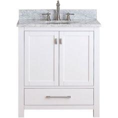 Bon Avanity Modero 30 Inch White Finish Vanity Combo   Overstock™ Shopping    Great Deals