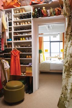 DIY Built-ins give you added storage  for shoes, purses and bags.Love