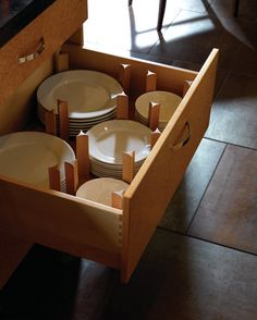 best dish storage ever  Plain & Fancy - contemporary kitchen- Traditionally Classic   Plain & Fancy Custom Cabinetry