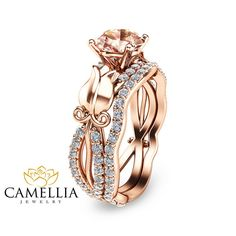 Unique Rose Gold Morganite Engagement Rings 1 by CamelliaJewelry