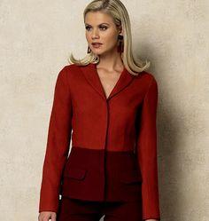 Misses' Jacket Vogue 8931 I like the effect of the darker color on the lower half of the jacket.  #wardrobechallenge