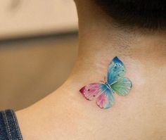 Colorful Butterfly Tattoo on Neck
