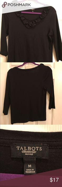 "Talbots Knit 3/4 sleeve top black blouse Worn once!  Like new condition. Super cute floral ""petals"" on neck line. Talbots Tops Blouses"