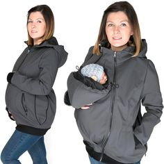 3 in 1 The All weather baby wearing maternity softshell. Its ideal for your pregnancy and to carry your baby. Its also perfect for all seasons, allowing you to layer up or down. By removing the insert it makes a perfect casual weatherproof softshell jacket.  BABY SLING OR CARRIER IS REQUIRED  REMEMBER, IT DOESNT REPLACE A BABY CARRIER  COLOR: GRAPHITE  Features: ➥ made for carrying babies and toddlers depending on size and weight (FRONT ONLY carrier) ➥ it has got one removable insert to…