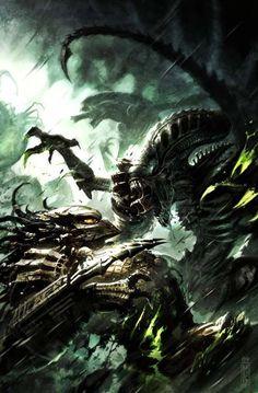 Aliens Vs Predator Cover Art by Raymond Swanland