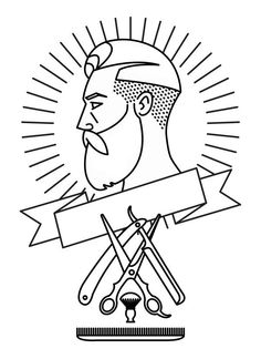 Barbershop illustration by Filip Popa, via Behance Barber Logo, Barber Tattoo, Logo Barbier, Don Diablo, Mens Hairstyles With Beard, Barber Shop Decor, Branding Design, Logo Design, Barbershop Design