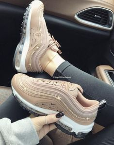 Swarovski Crystals Custom Nike Air Max 97 Desert Dust Sneakers Embellished with Rose Gold Swarovski Crystals - Schuhe Damen Sneakers Mode, Nike Sneakers, Sneakers Fashion, Fashion Shoes, Cool Womens Sneakers, Sneakers Workout, Girls Sneakers, Nike Fashion, Womens Shoes Wedges