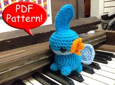 PDF PATTERN for Crocheted Mudkip Amigurumi doll by CraftedCuteness