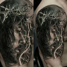 60 Jesus Arm Tattoo Designs For Men - Religious Ink Ideas Tattoos Arm Mann, Body Art Tattoos, Sleeve Tattoos, Tatoos, Schulterpanzer Tattoo, Thorn Tattoo, Tattoo Pics, Badass Tattoos, Tattoos For Guys