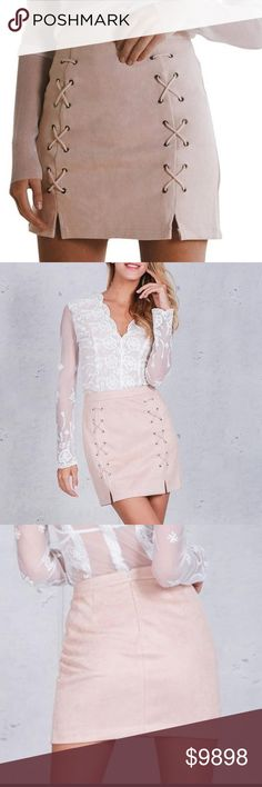 """COMING SOON! LACE UP MINI SKIRT ~ KHAKI COLOR """"LIKE"""" to know when it's arrived! You'll love this mini skirt. This listing is for the khaki color. Black is available in another listing. Sexy lace up front and a nice zip up back. PLEASE USE THE SIZE CHART.  ❤️ Save 20% when you buy 2+ items in my Closet ❤️    If you LIKE my Closet, FOLLOW ME to see NEW ARRIVALS   Jewelry skirt tops accessory pool summer birthday anniversary gift present women vacation cruise date night beach spring club Chic…"""