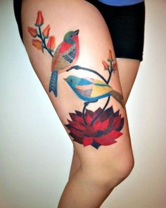 Bird thigh tattoo, love the different style