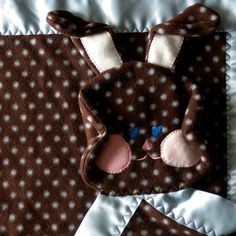 Chocolate brown polka dot bunny , perfect baby shower gift!