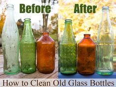"How to Clean Old Glass Bottles - Do you ever see old glass bottles, maybe at a flea market, maybe scrounged from an old dump site (we have one of those back in our woods, sigh…), and think, ""That bottle would be so great… IF it wasn't covered in 50 years' worth of grime?"" Here's how to clean old glass bottles so they'll look like new."