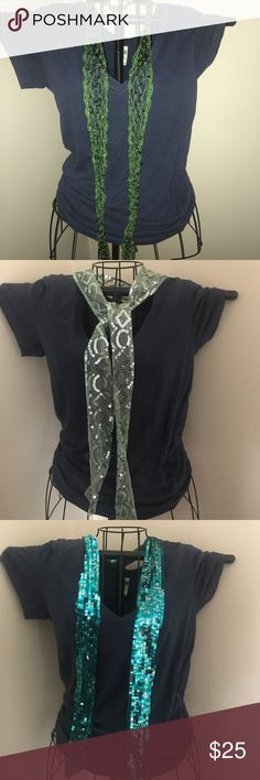Lot of (4) green scarves/belt/ headbands/ sparkle Lot of (4) green scarves/belt/ headbands/ sparkle. All brand new with tags retail $14.99 each. Green variety . Shirt not included Accessories Scarves & Wraps