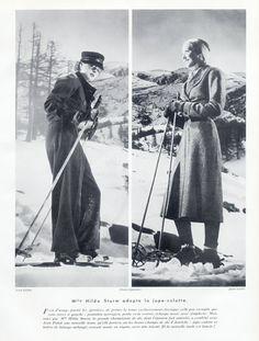 Jean Patou (Couture) 1935 Hilda Sturm, skiing, divided skirt