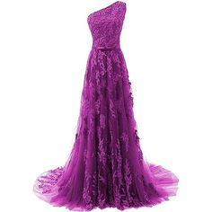 Fanciest Women's One Shoulder Lace Prom Dresses 2017 Long Evening... ($99) ❤ liked on Polyvore featuring dresses, gowns, long prom dresses, royal blue prom dresses, purple lace dresses, purple evening gowns and purple gown