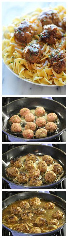 Salisbury Steak Meatballs - Damn Delicious