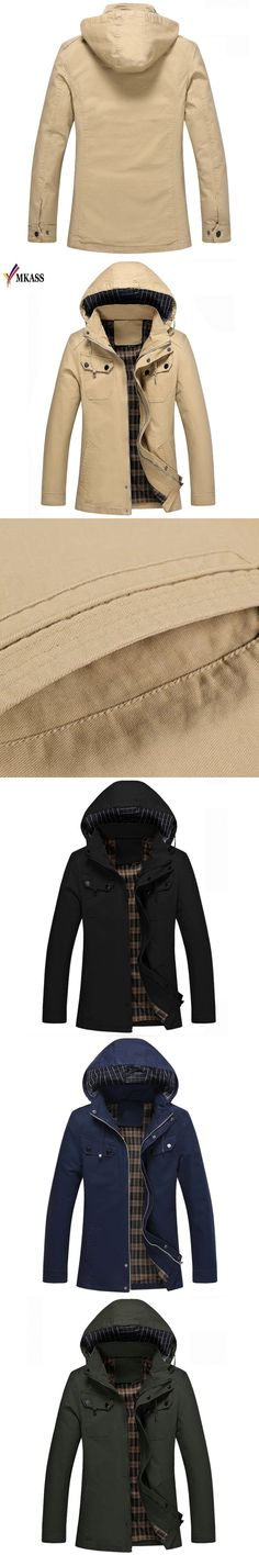 New Style Mens Trench Coat Fashion Zipper Removable Hooded Slim Long Trench Coat Men Casual Mens Long Coat With A Hood
