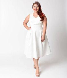 Voodoo Vixen Plus Size 1950s Style White Lace Monroe Swing Dress