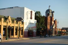Grapevine, TX--this is the main street in my town.  The white building is a very old theater.