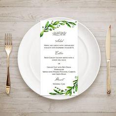 Green menu template Woodland wedding Menu by CardsForWedding