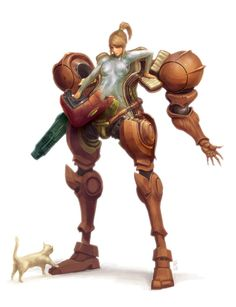 Samus getting out of her suit