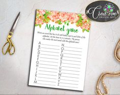 Floral Baby Shower Shower Pink Theme Abcs Game Elements Game ALPHABET GAME, Pdf Jpg, Party Organizing, Party Décor - flp02 #babyshowergames #babyshower