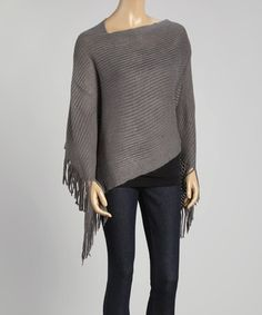 This Gray Fringe Poncho by The Magic Scarf Company is perfect! #zulilyfinds