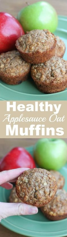 Easy and delicious Applesauce Oat Muffins. They make the perfect healthy snack and they're freezer-friendly, too!  | tastesbetterfromscratch.com via @betrfromscratch