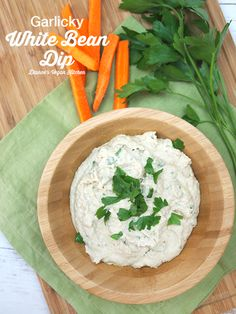 Garlicky White Bean Dip is the perfect snack, and is also delicious on sandwiches or wraps. It's vegan and gluten-free. >> Dianne's Vegan Kitchen
