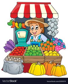 Illustration of Farmer theme image 3 - vector illustration vector art, clipart and stock vectors. Community Helpers Worksheets, Community Helpers Preschool, Bff Drawings, Cartoon Drawings, Kindergarten Activities, Preschool Activities, Picture Comprehension, Community Workers, Up Theme