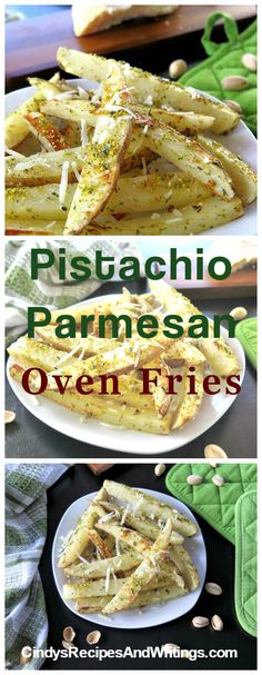 Pistachio Parmesan Oven Fries ready in 20 minutes for a snack, side dish or appetizer. A healthier way to enjoy fries! Easy Vegetable Side Dishes, Side Dishes For Chicken, Potato Side Dishes, Best Side Dishes, Side Dish Recipes, Appetizer Recipes, Appetizers, Tailgate Food, Thanksgiving Side Dishes