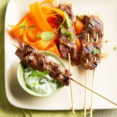Five-Spice Beef Kabobs by Better Homes and Gardens. Our simple Asian-inspired kabobs are delicious served with a homemade mint-yogurt dip. If you don't have Chinese five-spice powder on hand, chili powder works just as well. Beef Kabob Recipes, Cooking Recipes, Steak Recipes, Rub Recipes, Grilling Recipes, Veggie Recipes, Cooking Tips, Easy Recipes, Vegetarian Recipes
