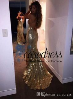 2016 Gold Sequin Evening Dresses Split Side Backless Prom Dresses Plus Size Long Mermaid Sequined Bridesmaid Dresses Cheap Custom Made