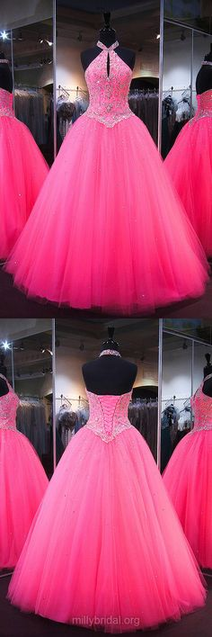 Pink Prom Dresses, Ball Gown Prom Dresses, Long Prom Dresses, 2018 Prom Dresses Halter, Tulle Prom Dresses Beading, Backless Prom Dresses Sparkly #ballgowns