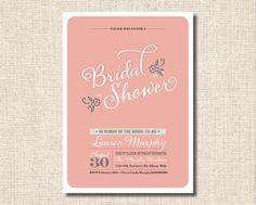 Printable Bridal Shower Invitation  Pink by rosiedaydesign on Etsy, $15.00
