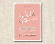 Printable Bridal Shower Invitation  Pink by rosiedaydesign on Etsy, $15.00
