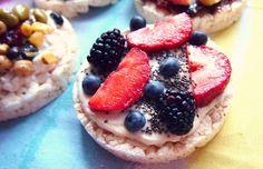 Berry Chia Parfait Rice Cake  -One Tsp Chia Seeds  -One Large Strawberries  -One Tbsp Blueberries  -Three Blackberries  -Two Tbps Plain Greek Yogurt  -Two Tsp Organic Honey  -One Organic Plan No Salt Added Rice Cake    Nutrition: 92 Calories, 0.7 g Fat, 3 g Fiber, 6 g Sugar, 15 g Carbs, 5 g Protein
