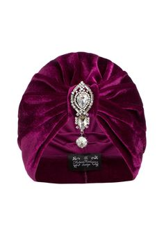 Pink Velvet Turban with Silver Hanging Detail by TheFHBoutique