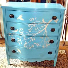 Fixing the girls dresser by hand painting a stencil over the pen marks (then I'm trading them dressers muuhaahhaa).