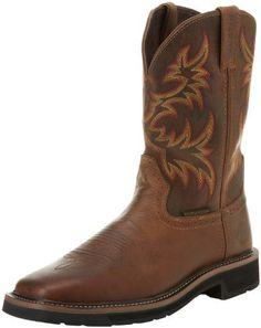 """Justin Original Work Boots Men's Stampede Steel Toe Work Boot Justin Original Work Boots. $105.00. Rubber sole. Heel measures approximately 1.5"""". Shaft measures approximately 10.5"""" from arch. All leather upper. leather. Platform measures approximately 0.75"""" . Boot opening measures approximately 13.25"""" around"""